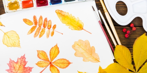 Water color painting with autumn leaves paint kindergarten